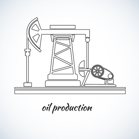 Industrial plant oil production. stylized vector illustration.