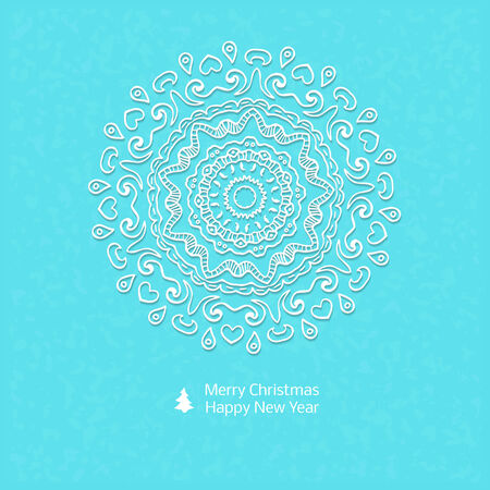 abstract circles: Lacy vector paper Christmas circular elements - illustration for ethnic creative design projects. Mandala.