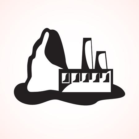 ferrous metals: Industrial plant ferrous metallurgy. black and white stylized vector illustration. Illustration