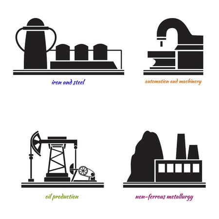 rectification: Set Industrial plant ferrous metallurgy, oil, iron, automatoin. black and white stylized vector illustration. Illustration