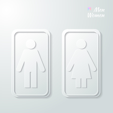changing room: 3d Paper signs - toilet, changing room, male, female, wc on a grey background. Vector.