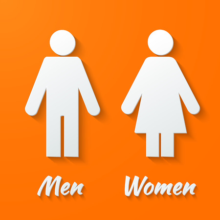 changing room: 3d Paper signs - toilet, changing room, male, female, wc on a orange background. Vector.