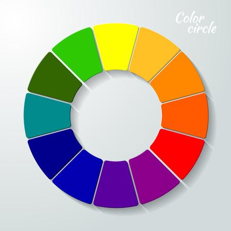 Kleurenwiel - vector afbeelding in stijl papier op een grijze achtergrond