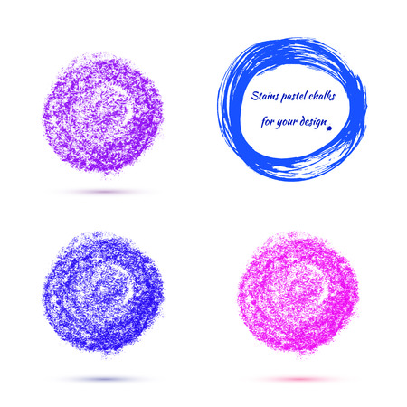 chalks: colored round design elements, texture - pastel chalks. Vector illustration of violet-blue range.