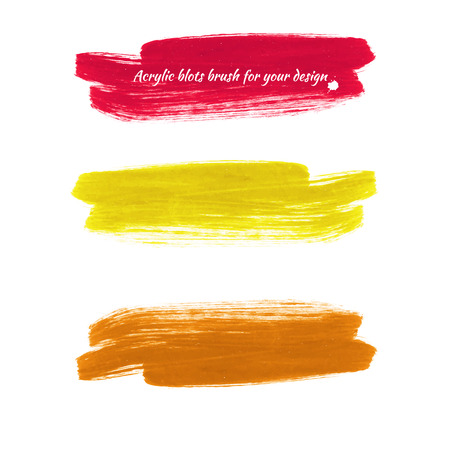 Design elements - colored acrylic paint brush marks. Vector illustration - red, yellow, orange.