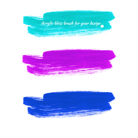 Design elements - colored acrylic paint brush marks. Vector illustration -  blue shades.