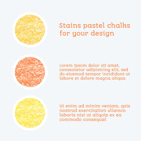 chalks: yellow colored round design elements, texture - pastel chalks. vector illustration