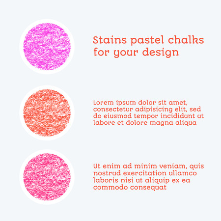 chalks: red colored round design elements, texture - pastel chalks. vector illustration Illustration