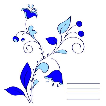 gzhel: Frame of blue flowers. Russian folk style Gzhel. vector illustration Illustration