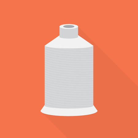 spool: Light gray spool of thread in a flat style on a red background