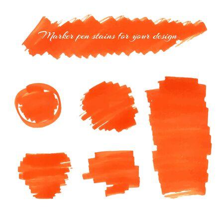 soft tip pen: Orange marker pen spots and lines for your design.