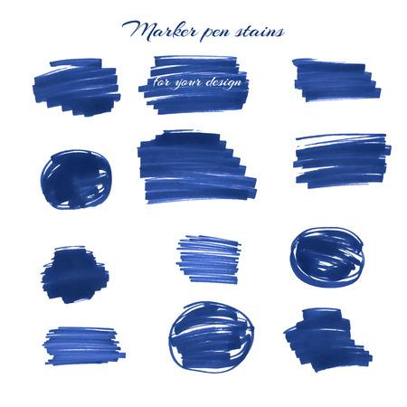 pen and marker: Blue marker pen spots and lines for your design. Illustration