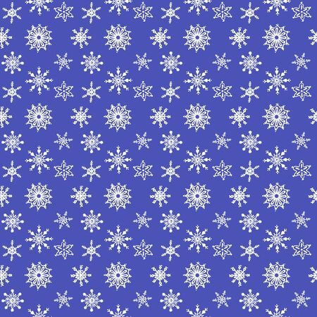 Seamless pattern of white snowflakes on a blue background. Can be used in the design of the cover, books, CDs, advertising, website background.