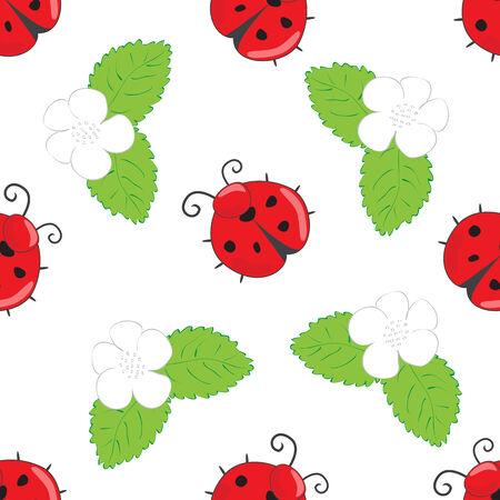 cover art: Seamless pattern con coccinelle e fiori bianchi con foglie su uno sfondo bianco per il design, l'imballaggio, copertine, prodotti tessili, artigianato, ecc Vettoriali