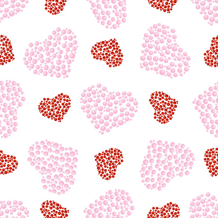 gift wrapping: Seamless pattern of pink and bubble hearts on a white background for design, gift wrapping, covers, textiles, craft, etc. Illustration