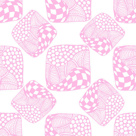 a pink cell: Abstract seamless pattern of pink squares with the cell, bubbles, circles and waves. Doodle style. Can be used to design the covers of books, notebooks, CD, paper and others. Illustration