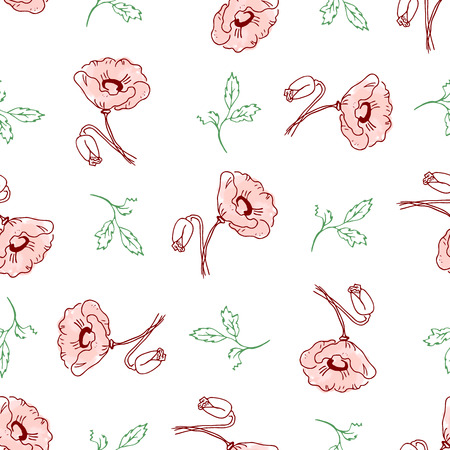 poppy flowers: seamless pattern of beautiful poppy flowers and green twigs with leaves on a white background in pink pastel colors. Vector illustration drawn by hand. Can be used for design, textiles, covers, wrapping paper crafting. Illustration