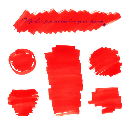 soft tip pen: Bright red marker pen spots and lines isolated on a white background for your design. Vector illustration. Illustration