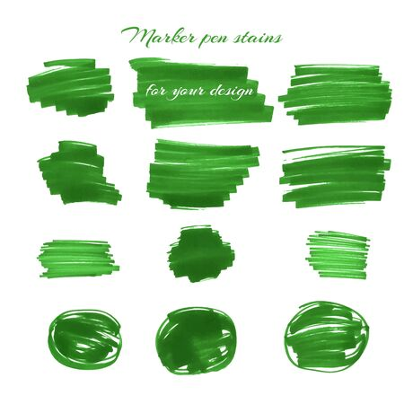 pen and marker: Green marker pen spots and lines isolated on a white background for your design. Vector illustration.