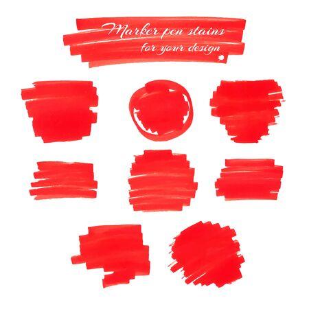 Marqueurs rouge vif taches de stylo et lignes isolés sur un fond blanc pour votre conception. Vector illustration.