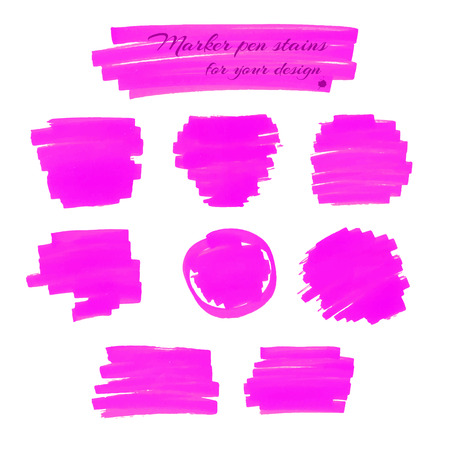 marker pen: Neon pink marker pen spots and lines isolated on a white background for your design. Vector illustration.