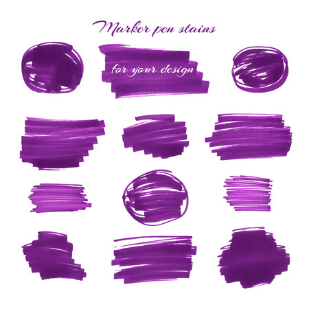 soft tip pen: Dark violet marker pen spots and lines isolated on a white background for your design. Vector illustration. Illustration