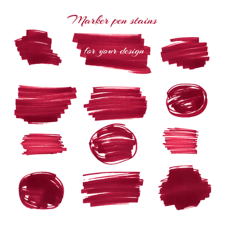 soft tip pen: Dark red marker pen spots and lines isolated on a white background for your design. Vector illustration.