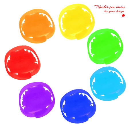 soft tip pen: Round marker stains hand-drawn set of rainbow colors isolated on a white background for your design. Vector illustration Illustration