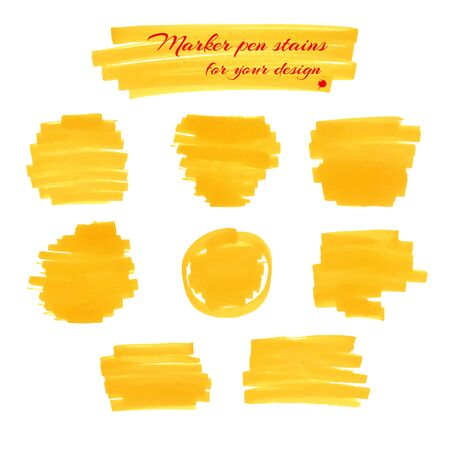 ink spill: Yellow marker pen spots and lines isolated on a white background for your design. Vector illustration. Illustration