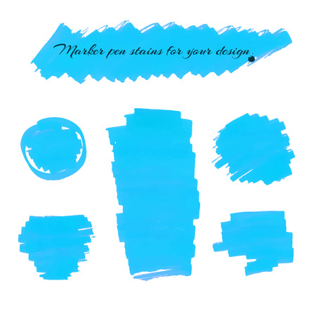 pen and marker: Light blue marker pen spots and lines isolated on a white background for your design. Vector illustration.