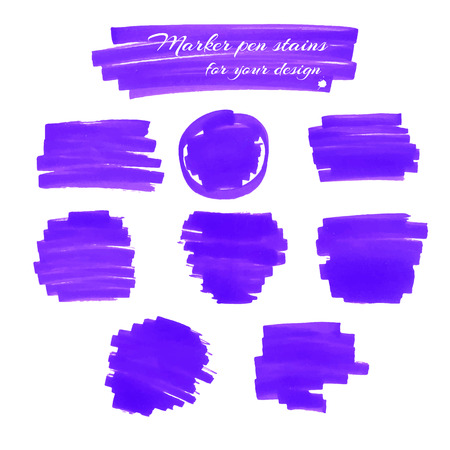soft tip pen: Violet marker pen spots and lines isolated on a white background for your design. Vector illustration.
