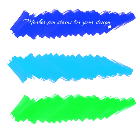 soft tip pen: Felt-tip marker stains isolated on a white background in blue-green colors, for design labels, banners, covers, backgrounds and others. Vector.
