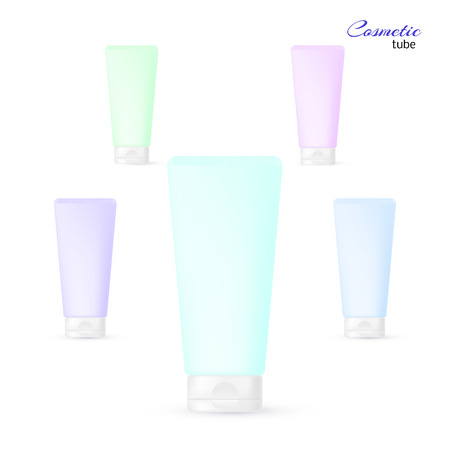 balsam: Set of cosmetic tubes in pastel colors - cream, gel, toothpaste, balsam etc. Vector illustration in a realistic style. Illustration