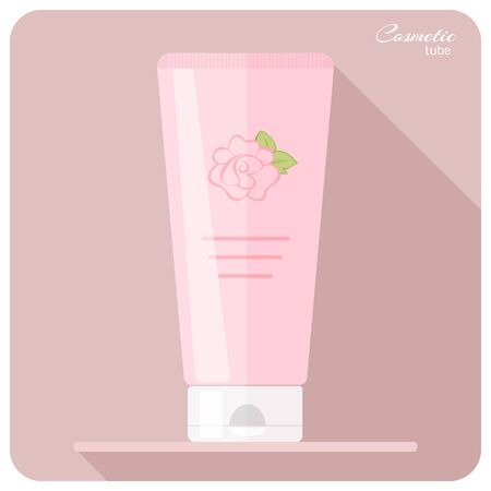 woman hygiene protection: Cosmetic tube in pink with flower roses - cream, gel, toothpaste, balsam etc. Vector illustration in a flat style.