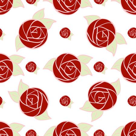Nahtloses Muster der stilisierten roten Rose Blumen und grüne Blätter auf weißem Hintergrund. Vektor-Illustration für Design-Kunstwerk, Textilien, Papier, Verpackung. Standard-Bild - 38413550