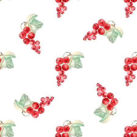 currants: watercolor illustration - a branch of ripe red currants on a white background, seamless pattern Stock Photo