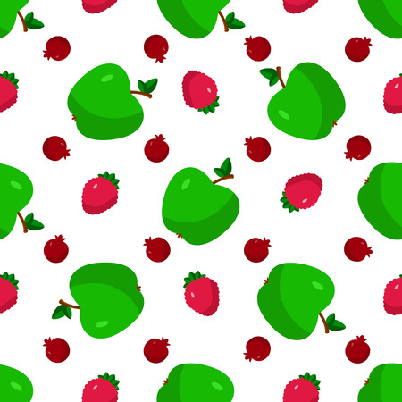 vegetarianism: Vector illustration of a flat drawn style - apple, pomegranate, strawberry - draw simple figures. Seamles pattern. Illustration