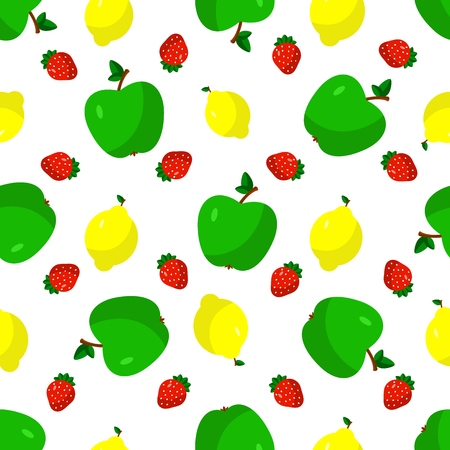 vegetarianism: Vector illustration of a flat drawn style - apple, lemon, strawberry - draw simple figures. Seamles pattern.