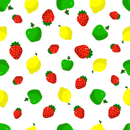 Vector illustration of a flat drawn style - strawberry, lemon, apple - draw simple figures. Seamles pattern.