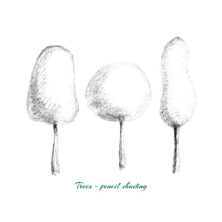 tone shading: Vector illustration - trees drawn by hand with pencil shading tone, isolated on white background.