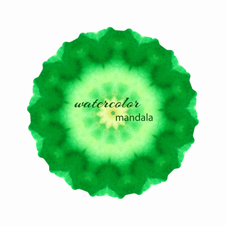 mehandi: Vector watercolor illustration - circular element, mandala. Circular pattern in ethnic style in shades of green.