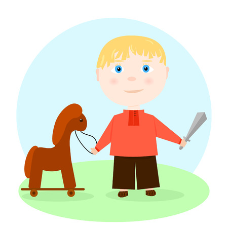 victorious: Illustration in cartoon style - a boy hero in a red shirt with a sword and a horse on wheels. vector.