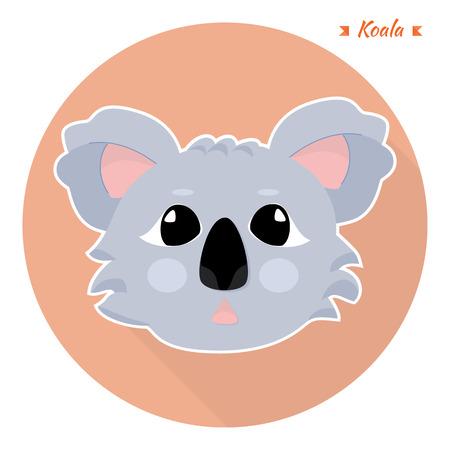 Illustration in cartoon style - head of the animal koalas. flat style. vector element. Vector