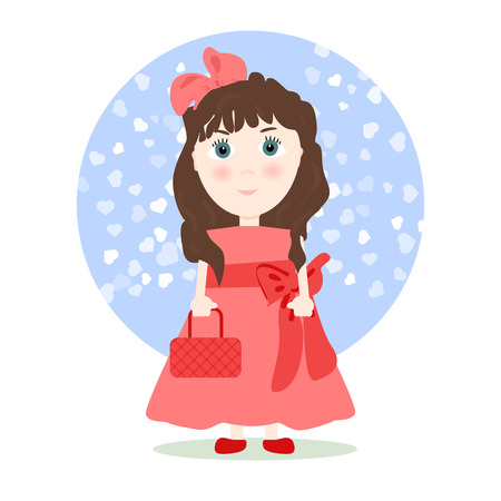 dark hair: Illustration in cartoon style - girl in a smart red dress and a pink bow, with dark hair and a red handbag. Vector.