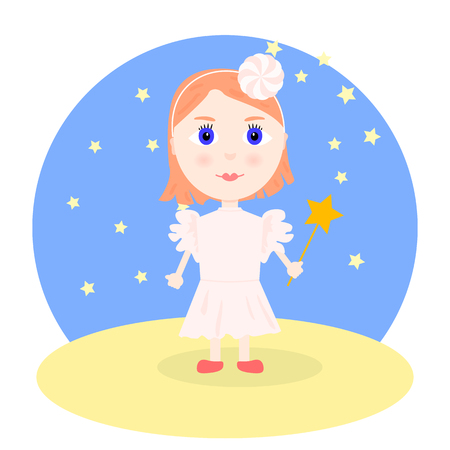 girl magic wand: Illustration in cartoon style - girl in a smart pale pink dress and pink flower in her hair, with red hair and a magic wand. Vector.