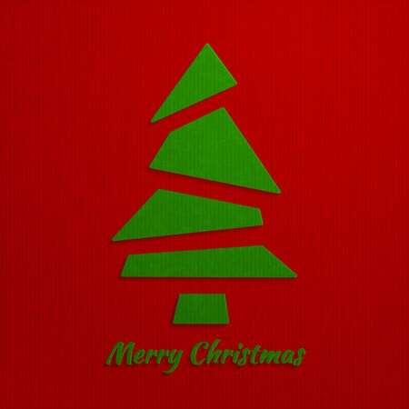 kraft: Christmas red background with a green Christmas tree, from simple triangles, flat style, with realistic vector imitation kraft paper. Vector illustration.