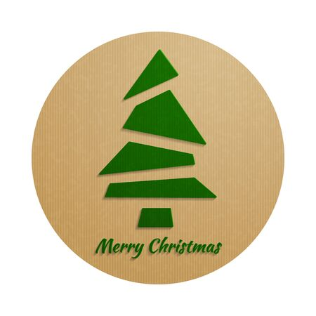 kraft paper: Christmas background with a green Christmas tree, from simple triangles, flat style, with realistic vector imitation kraft paper. Vector illustration.