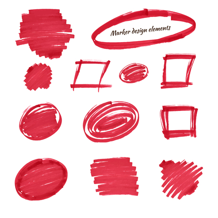 isolation: Set of design elements, hand-drawn with a red marker, isolation and correction of the text, frame, stain.