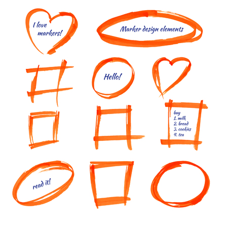 Set of design elements, hand-drawn in orange marker, isolation and correction of the text, frame, stain.