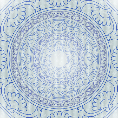 worn paper: The circular symbol, the mandala. A decorative background with circular ornamental element on worn paper background. Ethnic ornament. Illustration